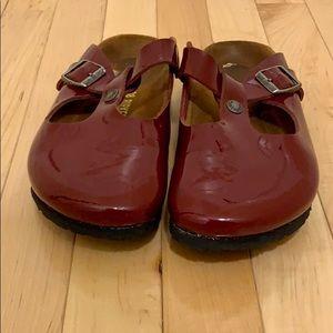 Birkenstock Boston clogs red patent leather